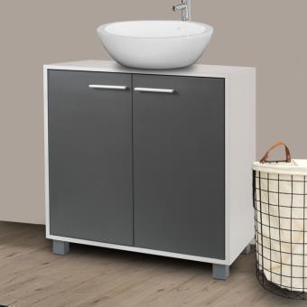 Meuble Sous Lavabo Gris Pour Vasque De Salle De Bain Accessoires Salles De Bain Et Wc Achat Prix Fnac