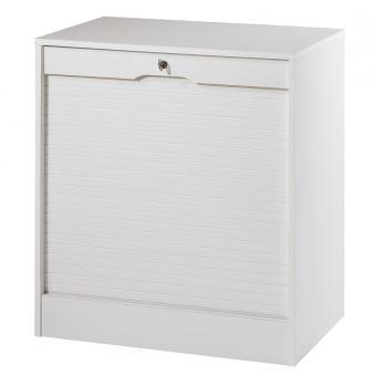 classeur a rideau large hauteur 76 cm coloris blanc