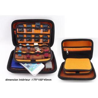 une boite etui housse pochette de protection de transport rangement noir pour disque dur externe 2 5 pouces cle usb carte memoire orange