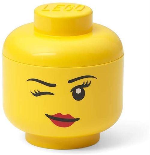 lego boite de rangement tete de winky mini 10 x 11 cm polypropylene jaune