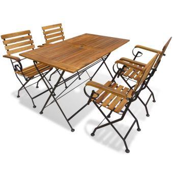 5 pcs ensemble de salle a manger d exterieur en bois d acacia 1 table pliante et 4 chaise pliantes