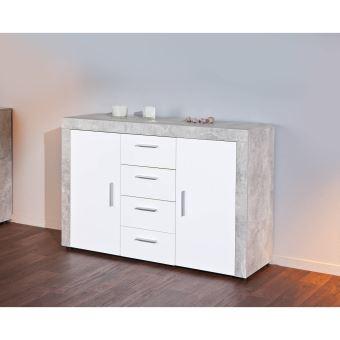 paris prix buffet 4 tiroirs concrete 134cm gris blanc