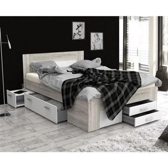 udine lit adulte contemporain decor chene cendre et blanc mat l 140 x l 200 cm