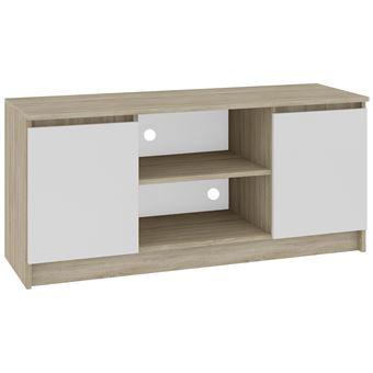 dusk meuble bas tv contemporain salon sejour 120x55x40 cm 2 niches 2 portes rangement materiel audio video gaming sonoma blanc