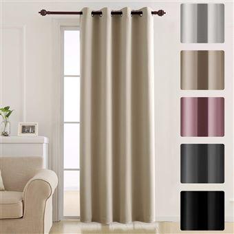 deconovo rideau occultant opaque solide lourd a oeillets 140cm x 260cm rideaux isolant thermique rideaux isolant phonique pour piece beige fonce