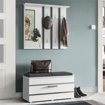 vestiaire d entree meuble d entree iringan 85 cm blanc pour 8 paires de chaussures 6 crochets avec miroir
