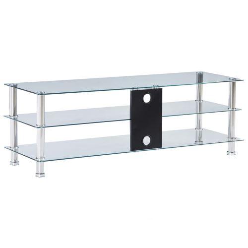 meuble tv transparent 120 x 40 x 40 cm verre trempe