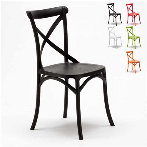 chaise de cuisine restaurant en polypropylene vintage paysan cross design couleur noir