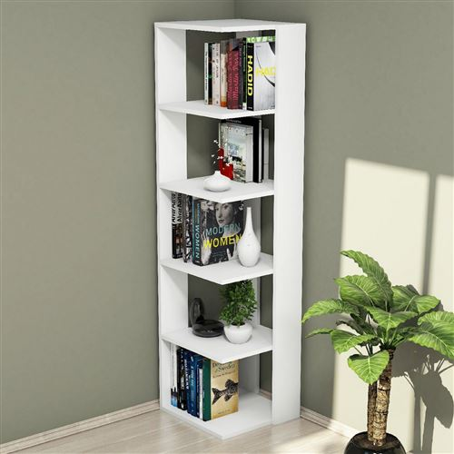 etagere bibliotheque d angle design olgha l 42 x h 161 cm blanc