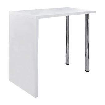vidaxl table de bar mdf avec 2 pieds en acier haut brillance blanc