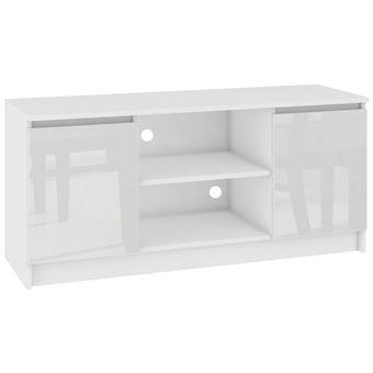 dusk meuble bas tv contemporain salon sejour 120x55x40 cm 2 niches 2 portes rangement materiel audio video gaming blanc laque