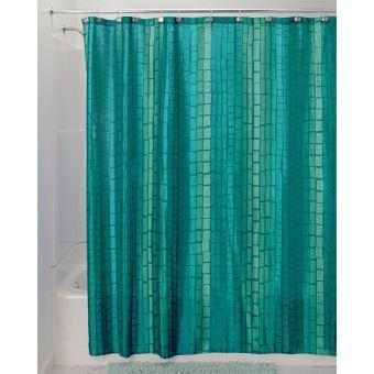 interdesign moxi rideau de douche avec 12 œillets pour une fixation facile rideau de douche original en polyester avec motif a carreaux bleu vert