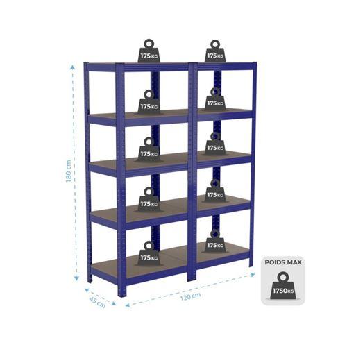 lot de 2 etageres de rangement polyvalente en metal charge lourde max 875kg 180 x 60 x 45 cm bleu