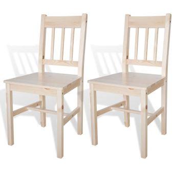 2 pcs chaise salle a manger en bois naturel