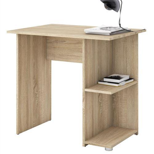 bureau pour enfant ou adulte nova bureau informatique table d ordinateur rangement ouvert 2 tablettes en melamine chene sonoma