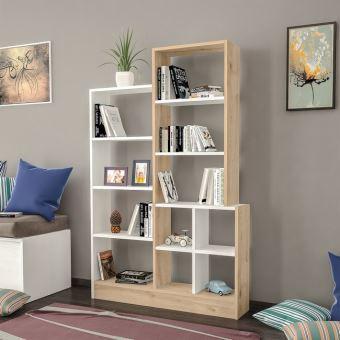 homemania bibliotheque monde avec etageres meuble de rangement pour salon bureau blanc chene en bois 102 2 x 22 x 160 8 cm