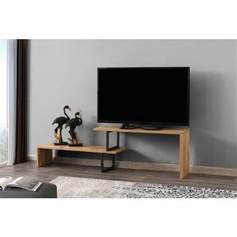 meuble tv design industriel ovit l 120 x h 45 cm marron