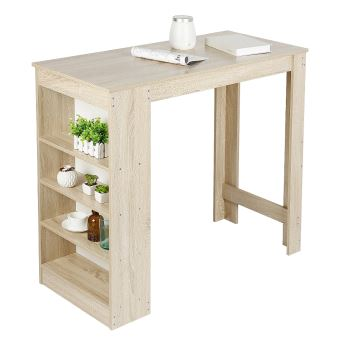 table de bar table de cuisine rangement scandinave de 2 a 4 personnes avec 4 etageres chene 115 50 103cm