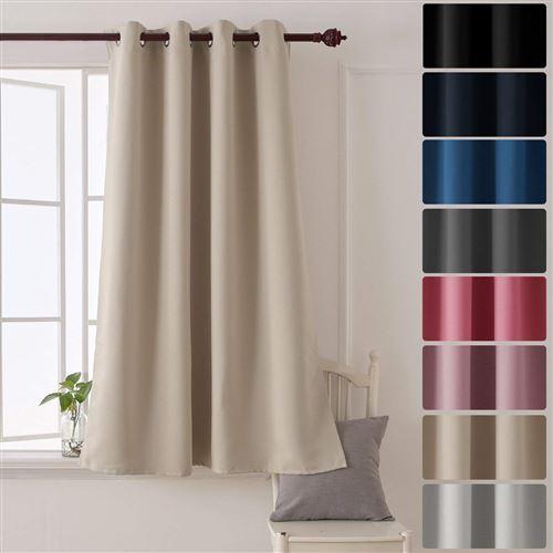 deconovo rideau occultant a oeillets de salon 140x180cm isolant thermique beige