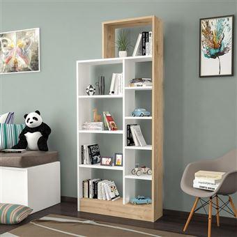 homemania bibliotheque zerre avec etageres meuble de rangement pour salon bureau chene blanc en bois 75 4 x 22 x 170 8 cm