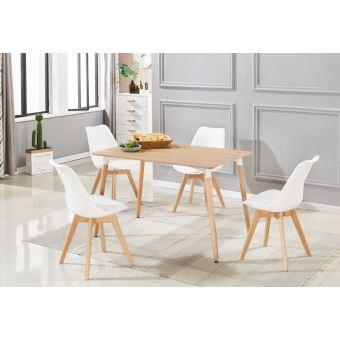 ensemble salle a manger moderne lorenzo table effet chene 4 chaises blanches design scandinave