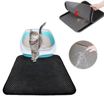 tapis litiere pour chat double couche pliable et detachable noir