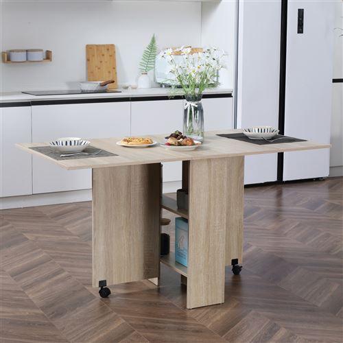 table pliante de cuisine salle a manger amovible sur roulettes 140l x 80l x 74h cm 2 etageres integrees panneaux particules coloris chene clair