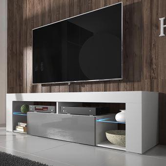 hugo meuble tv blanc mat gris brillant avec led achat prix fnac