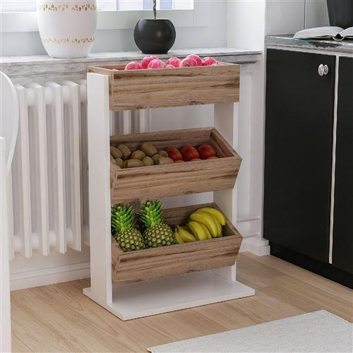 etagere de cuisine scandinave bois dera l 49 x h 70 cm blanc