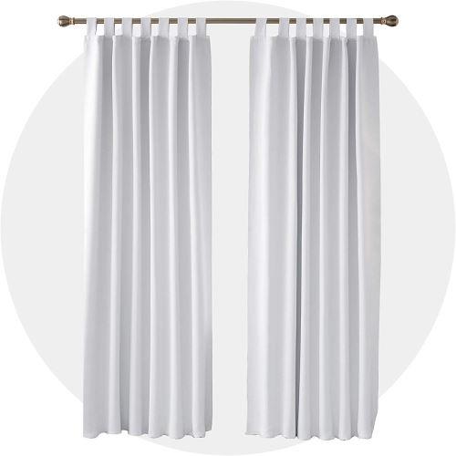 deconovo lot de 2 rideaux occultants thermique a pattes rideaux salon design 140x210cm blanc pale gris rieau fenetre cuisine