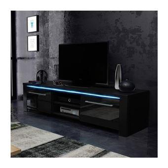meuble tv design manhattan 140 cm a 2 portes et 2 niches coloris noir mat et noir brillant led