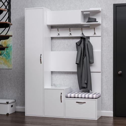 homemania vestiaire meuble d entree seina armoire avec etageres a chaussures portes etageres blanc en bois 125 x 35 x 184 cm