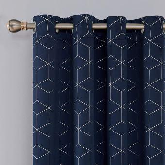 deconovo lot de 2 oeillets rideaux occultants bleu marine isolant thermique rideaux lossange imprimes argents pour enfant rideaux chambre 117x229cm