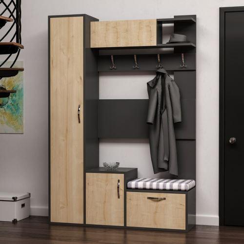 homemania vestiaire meuble d entree seina armoire avec etageres a chaussures portes etageres chene anthracite en bois 125 x 35 x 184 cm