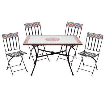 ensemble table mosaique 4 chaises pliantes en fer salon de jardin