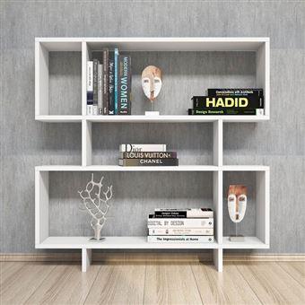 homemania bibliotheque hera avec etageres meuble de rangement pour salon bureau blanc en bois 100 x 20 x 100 cm