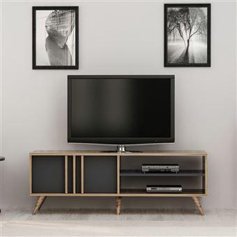 meuble tv design bois bren l 150 x h 48 cm gris anthracite