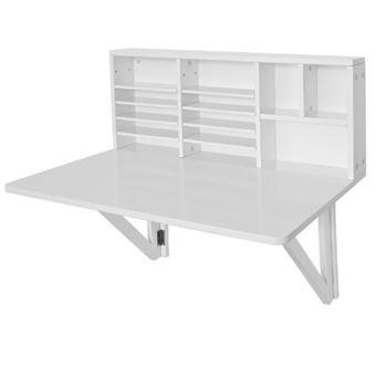 sobuy fwt07 w bureau table murale rabattable avec armoire murale integree table cuisine pliable table de repas blanc