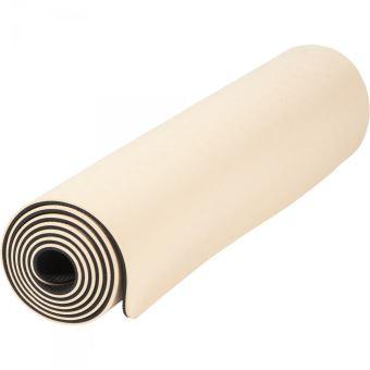 tapis de yoga pilates en tpe double face bicolor noir et abricot de 180cm x 60cm x 0 6cm