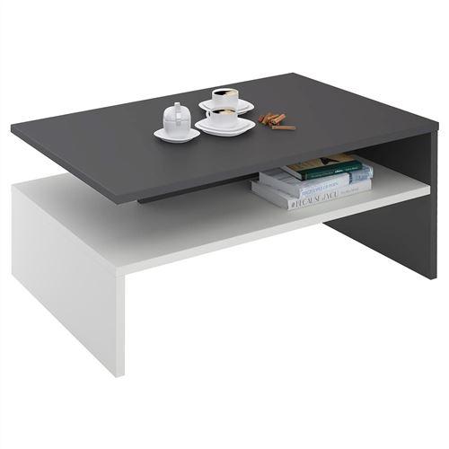 table basse adelaide en melamine gris et blanc mat