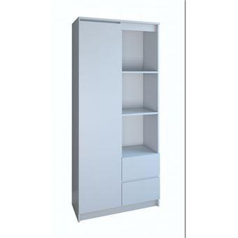 livorno meuble de rangement 7 casiers 2tiroirs bureau salon chambre 180x80x35 bibliotheque contemporaine etageres livres deco blanc