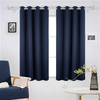 deconovo lot de 2 rideaux occultants uni rideau occultant isolant thermique rideau occultant a oeillet rideau pour salon 132x160cm bleu marine