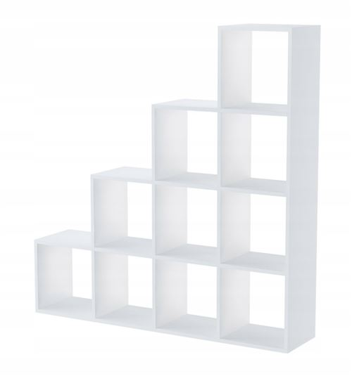 huelva etagere escalier contemporaine 10 niches casiers cubes 138x138x30 bibliotheque meuble de rangement multifonctionnel blanc