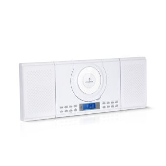 auna wallie micro chaine hifi avec lecteur cd bluetooth port usb mp3 telecommande blanc