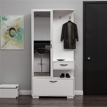 homemania vestiaire meuble d entree alda armoire avec etageres a chaussures miroir portes tiroir etageres blanc en bois 90 x 35 x 184 cm