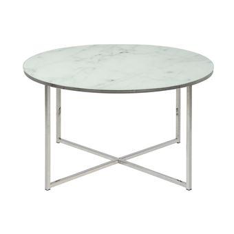 table basse ronde effet marbre blanc et pieds en metal d80 cm alcino
