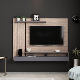 201 10 Sur Homemania Meuble Tv Lawrance Moderne Murale Avec Etageres Pour Salon Anthracite En Bois 157 X 21 X 120 Cm Achat Prix Fnac