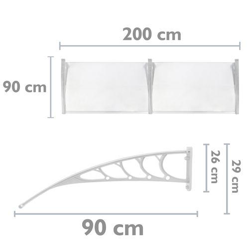 auvent de porte et fenetres 200x90 cm transparent marquise solaire abri banne entree protection avec support blanc