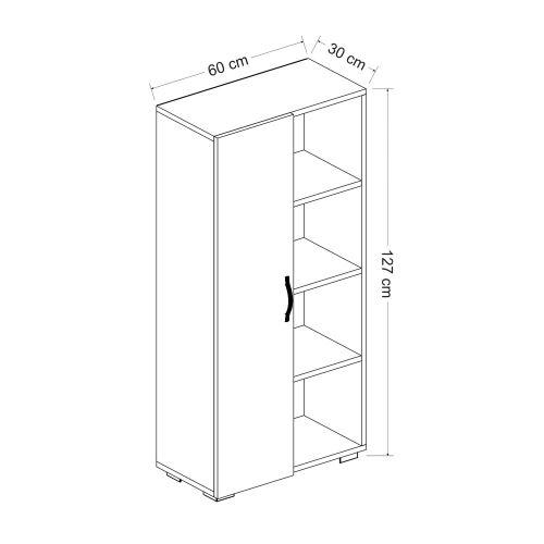 homemania meuble de rangement multi usages selery avec porte etageres pour salon cuisine entree blanc en bois 60 x 30 x 127 cm
