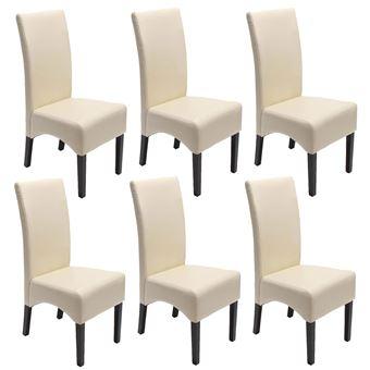 lot de 6 chaises latina salle a manger cuir reconstitue couleur creme pieds fonces